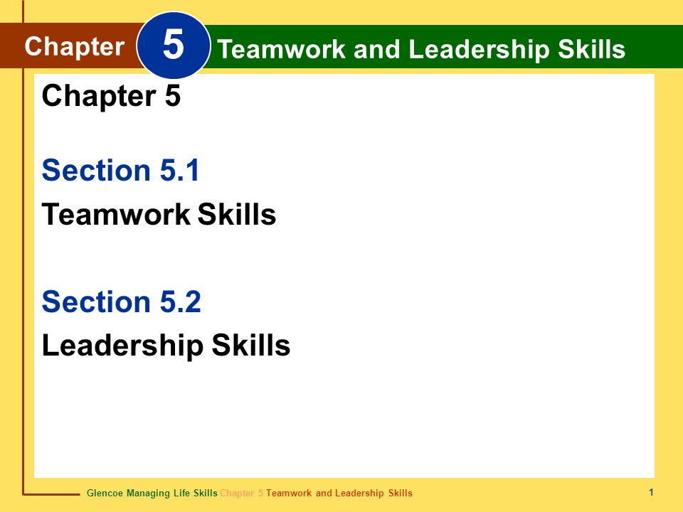 5 Chapter 5 Section 5.1 Teamwork Skills Section 5.2 Leadership Skills