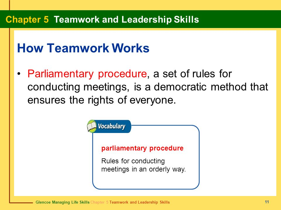 How Teamwork Works Parliamentary procedure, a set of rules for conducting meetings, is a democratic method that ensures the rights of everyone.