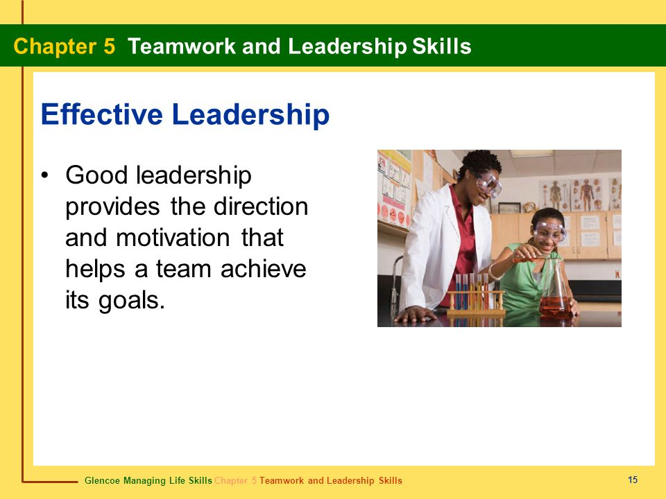 Effective Leadership Good leadership provides the direction and motivation that helps a team achieve its goals.