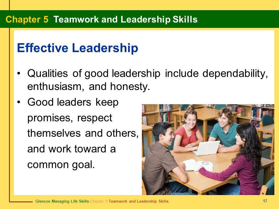 Effective Leadership Qualities of good leadership include dependability, enthusiasm, and honesty. Good leaders keep.