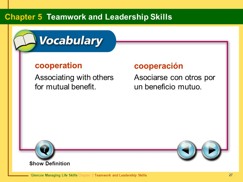 cooperation cooperación Associating with others for mutual benefit.