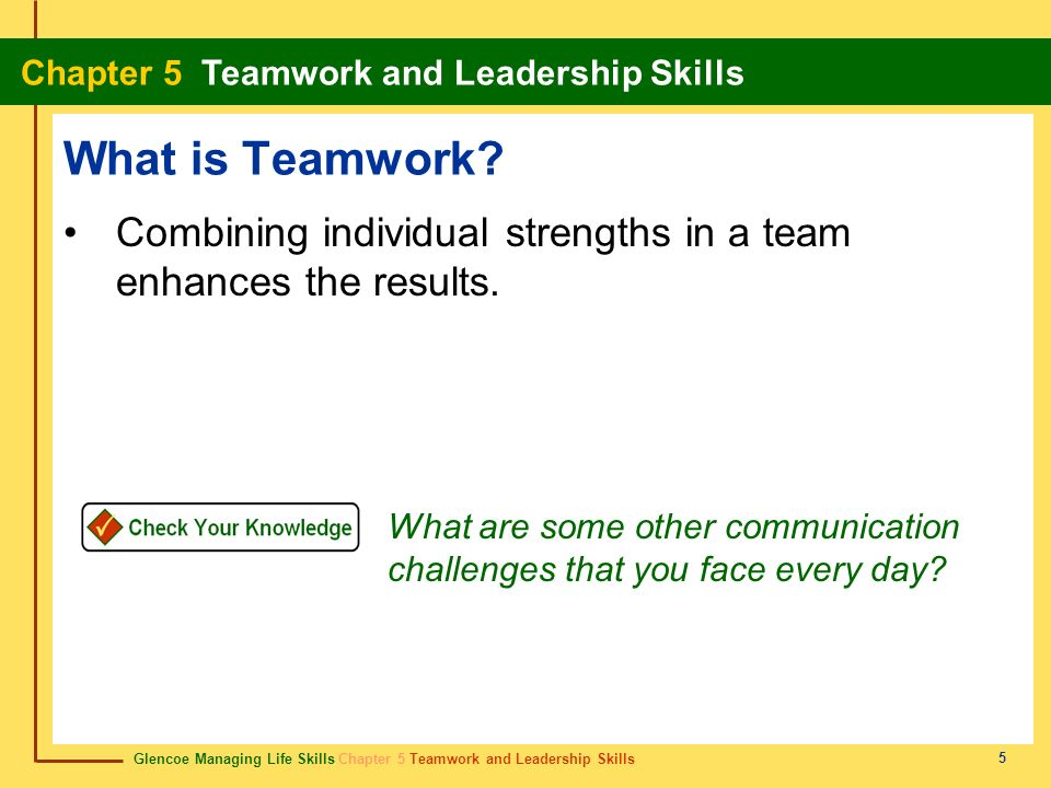 What is Teamwork Combining individual strengths in a team enhances the results.