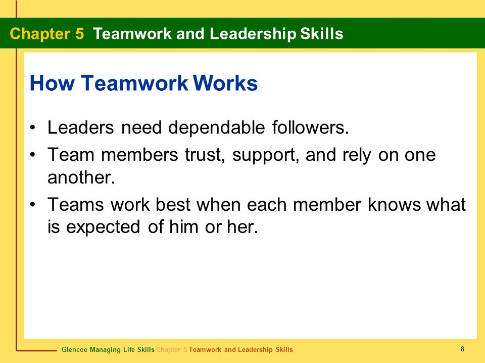 How Teamwork Works Leaders need dependable followers.