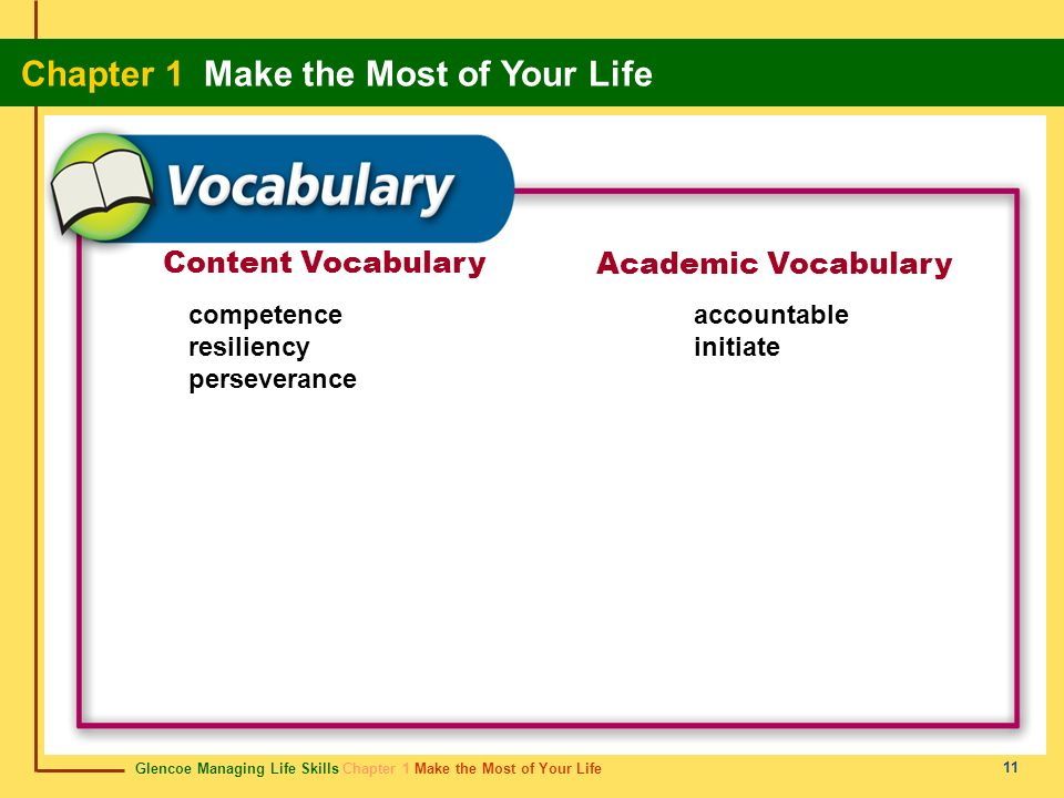Content Vocabulary Academic Vocabulary competence resiliency