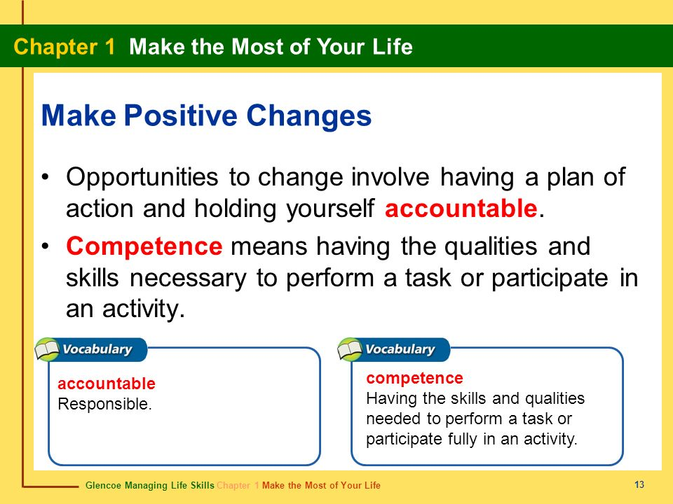 Make Positive ChangesOpportunities to change involve having a plan of action and holding yourself accountable.