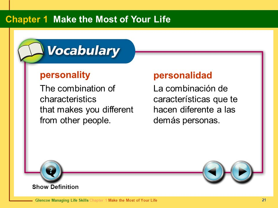 personality personalidad The combination of characteristics