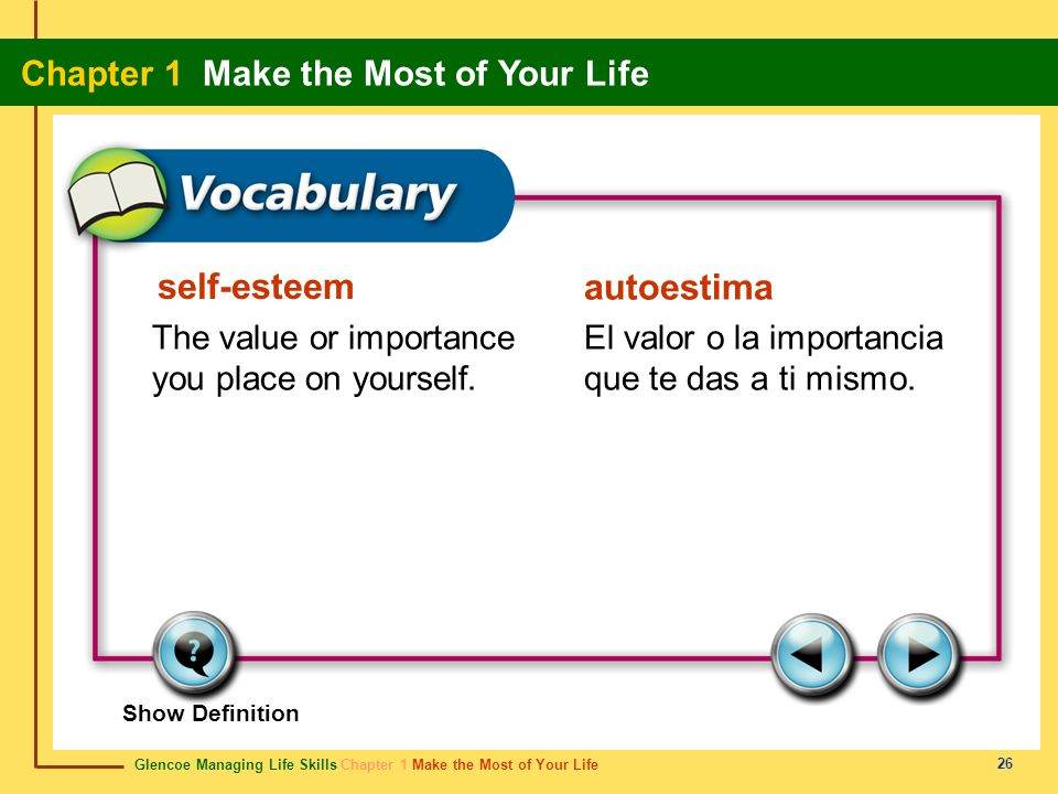 self-esteem autoestima The value or importance you place on yourself.