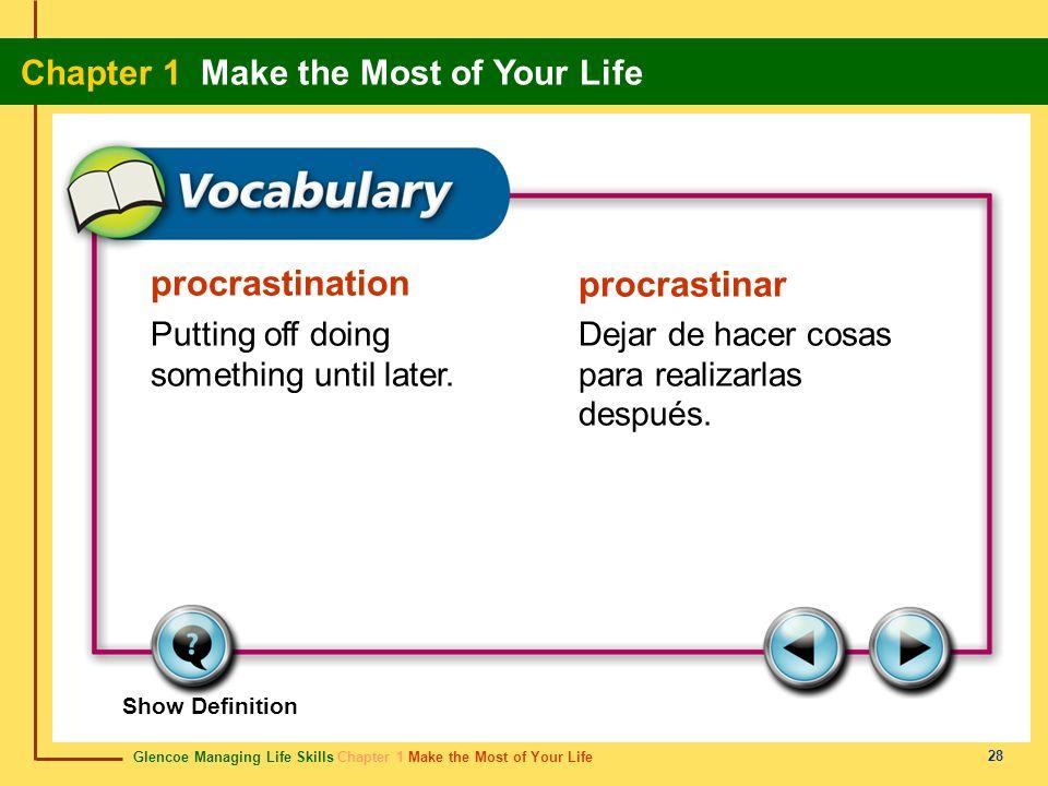 procrastination procrastinar Putting off doing something until later.