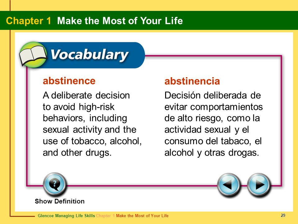abstinence abstinencia A deliberate decision