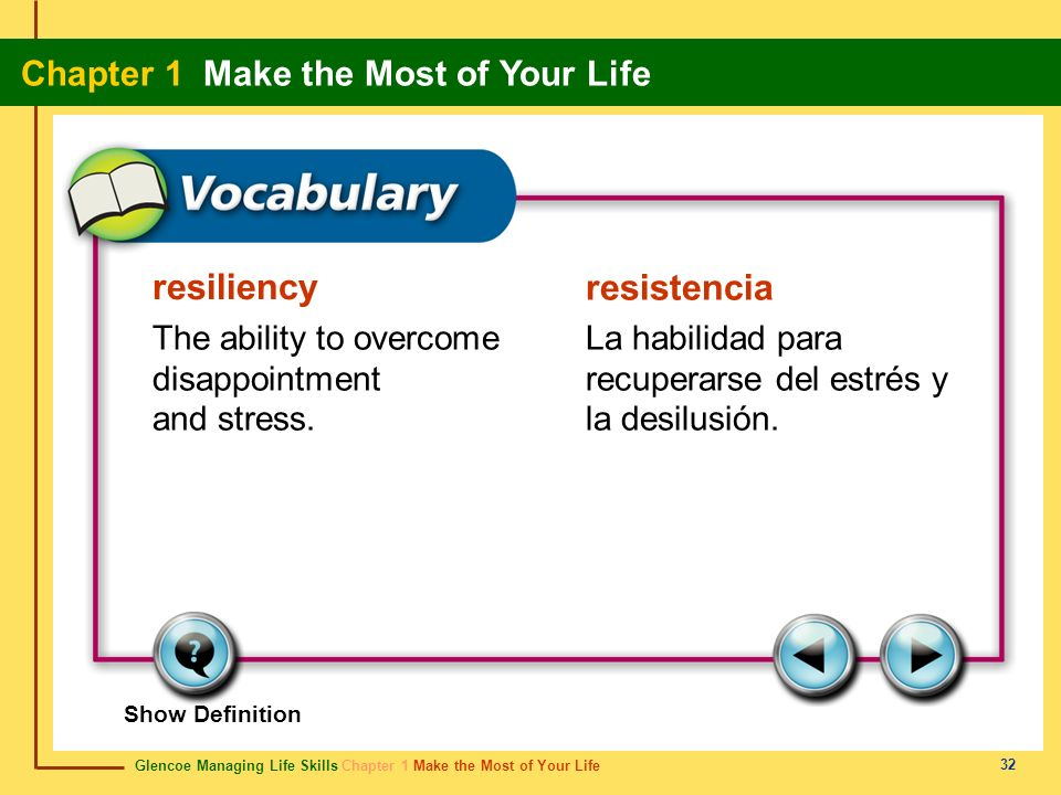 resiliency resistencia The ability to overcome disappointment