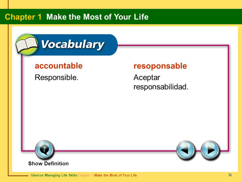 accountable resoponsable Responsible. Aceptar responsabilidad.