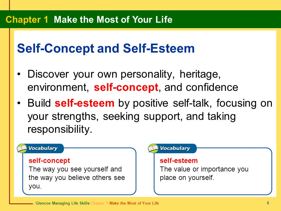 self esteem and the sel concept What is self-concept self-concept it is how you know and understands yourself it is the mental and conceptual understanding that you hold for your existence there are two important parts to consider about your self-concept: your.