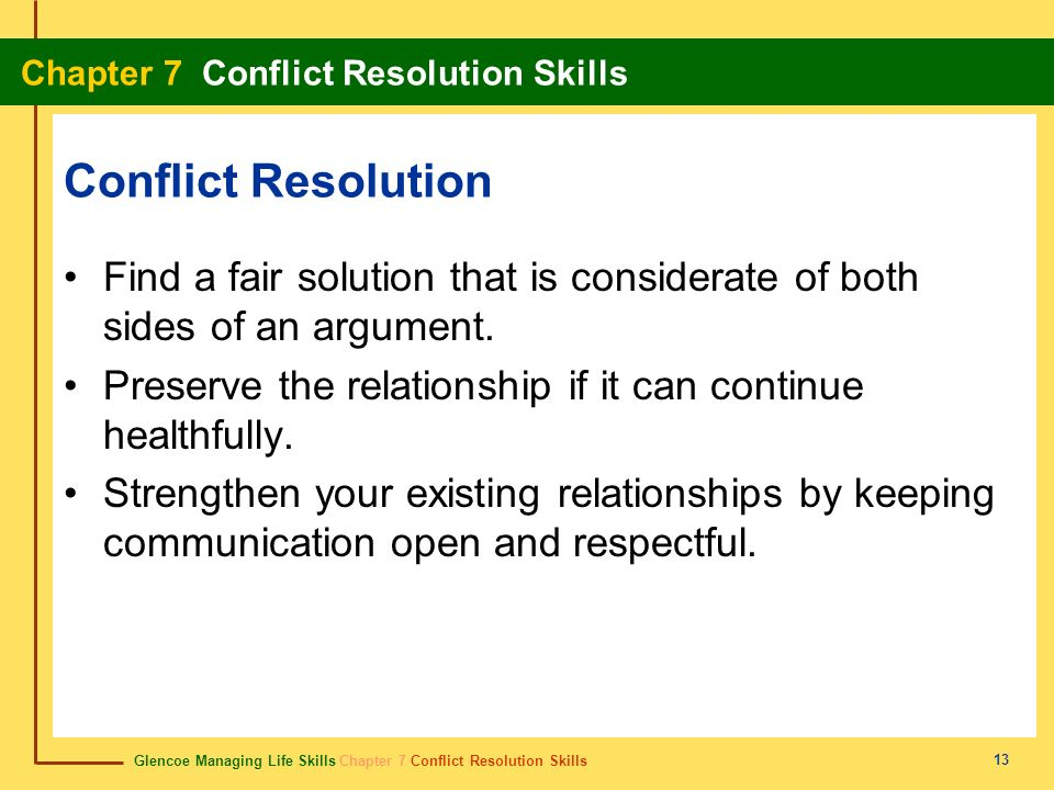 Conflict Resolution Find a fair solution that is considerate of both sides of an argument. Preserve the relationship if it can continue healthfully.