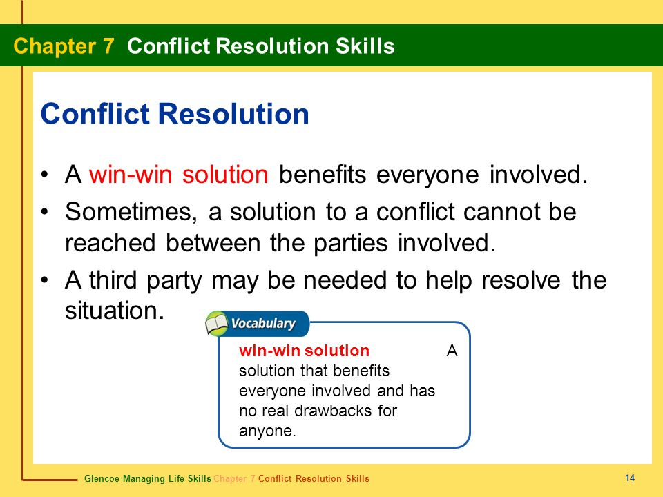 Conflict Resolution A win-win solution benefits everyone involved.