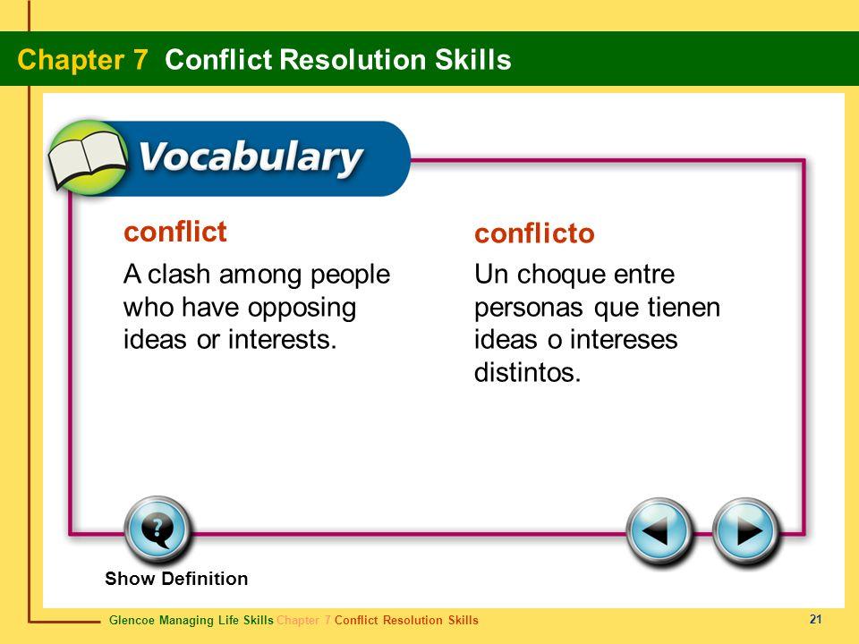 conflict conflicto. A clash among people who have opposing ideas or interests. Un choque entre personas que tienen ideas o intereses distintos.