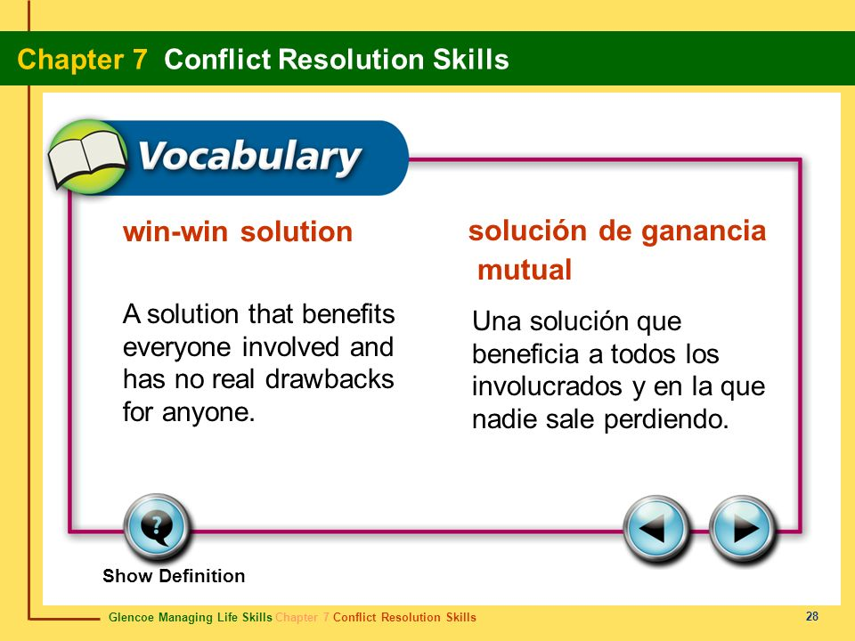 win-win solution solución de ganancia mutual. A solution that benefits everyone involved and has no real drawbacks for anyone.