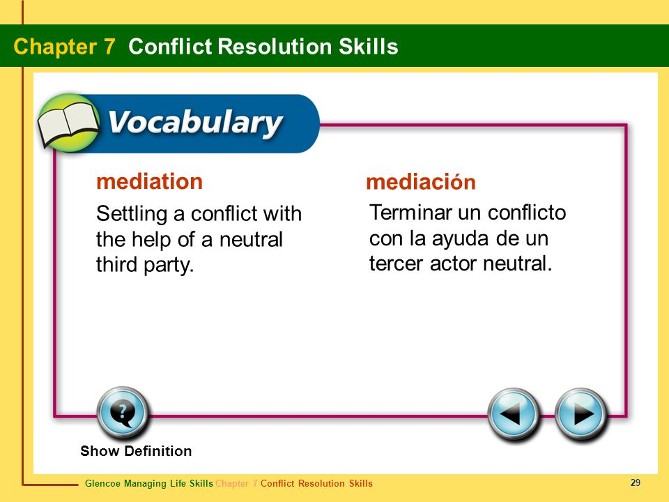 mediation Settling a conflict with the help of a neutral third party.