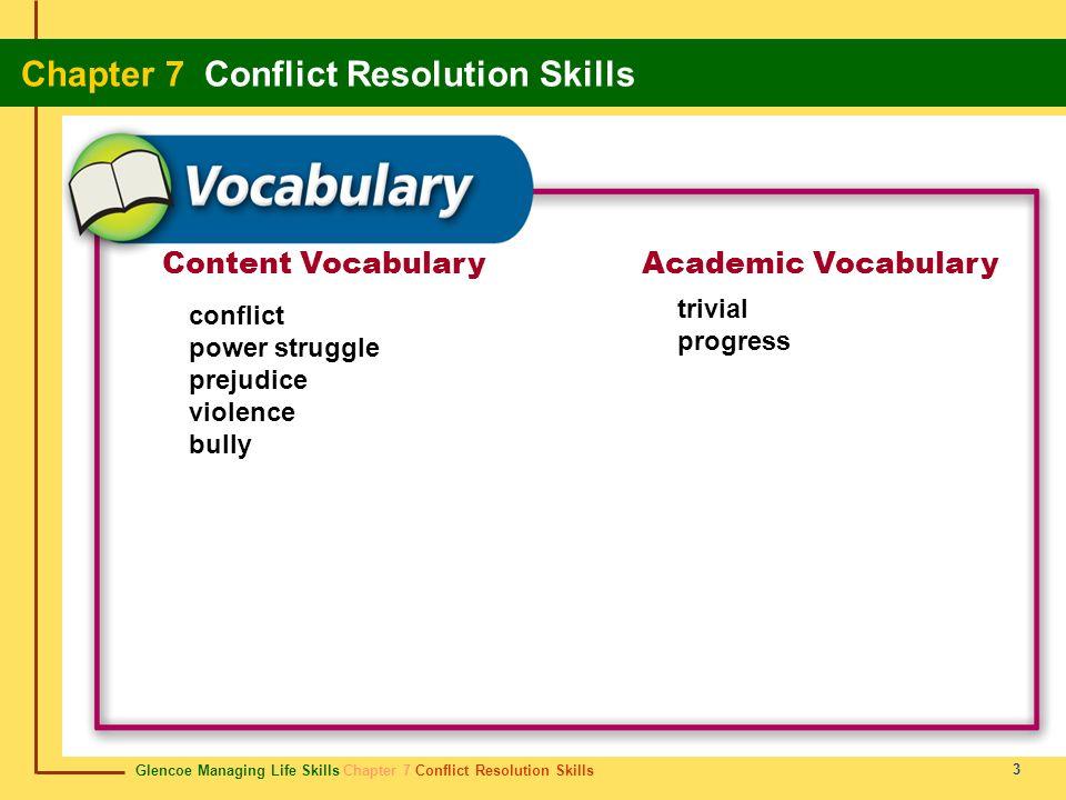 Content Vocabulary Academic Vocabulary trivial progress conflict
