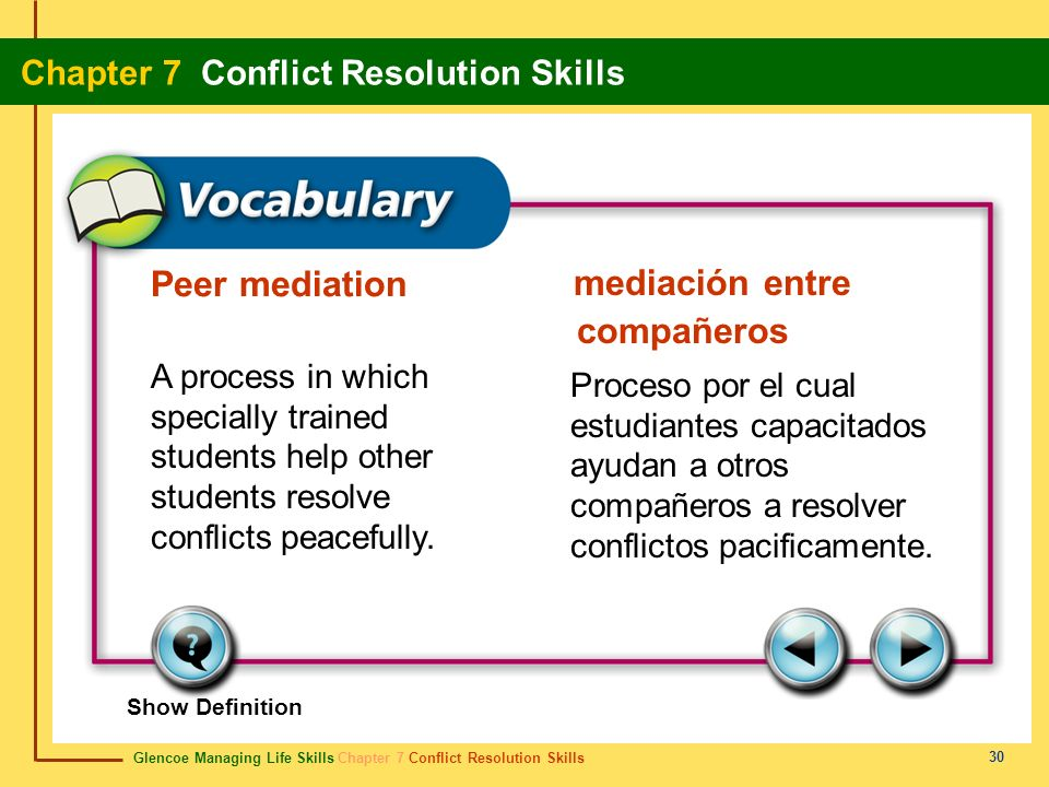 Peer mediation mediación entre compañeros. A process in which specially trained students help other students resolve conflicts peacefully.