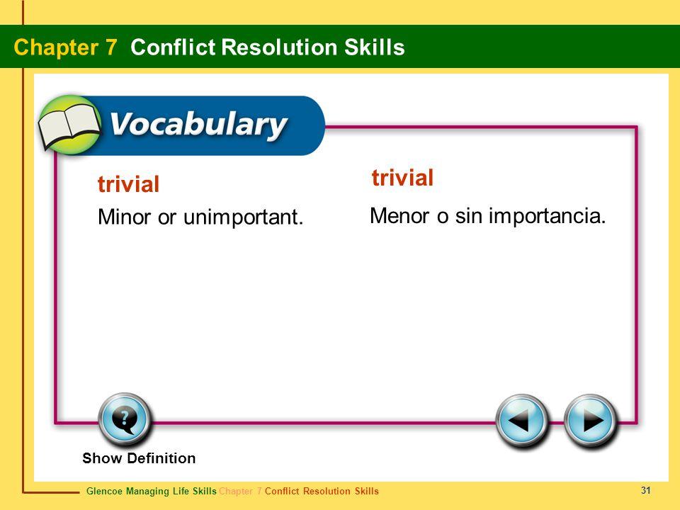 trivial Minor or unimportant. Menor o sin importancia. trivial