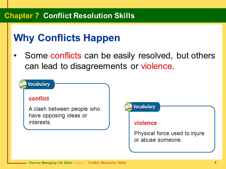 Why Conflicts Happen Some conflicts can be easily resolved, but others can lead to disagreements or violence.