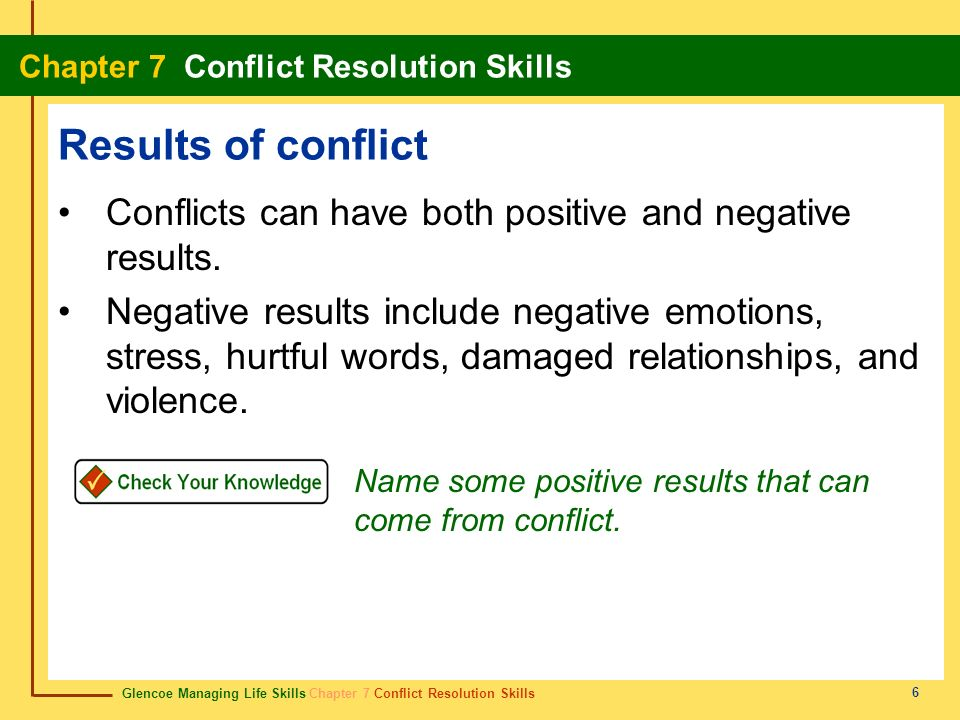 Results of conflict Conflicts can have both positive and negative results.