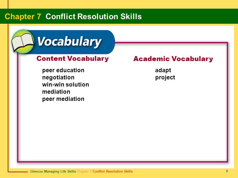 Content Vocabulary Academic Vocabulary peer education negotiation