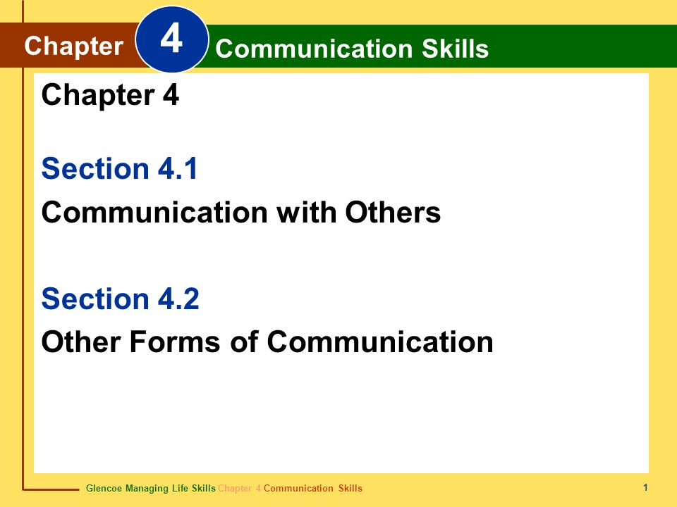 4 Chapter 4 Section 4.1 Communication with Others Section 4.2
