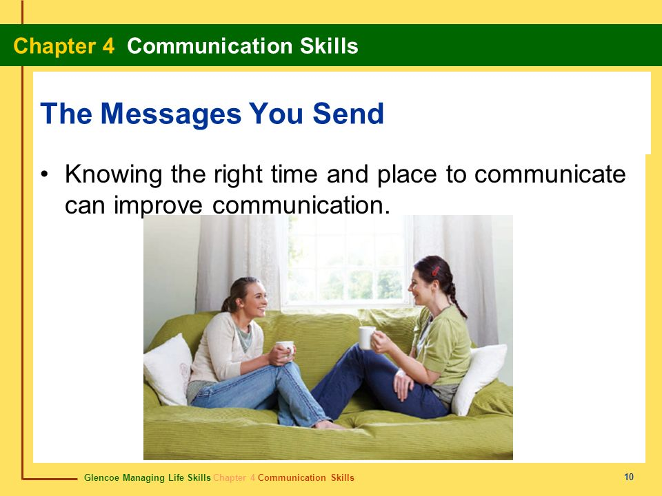 The Messages You Send Knowing the right time and place to communicate can improve communication.