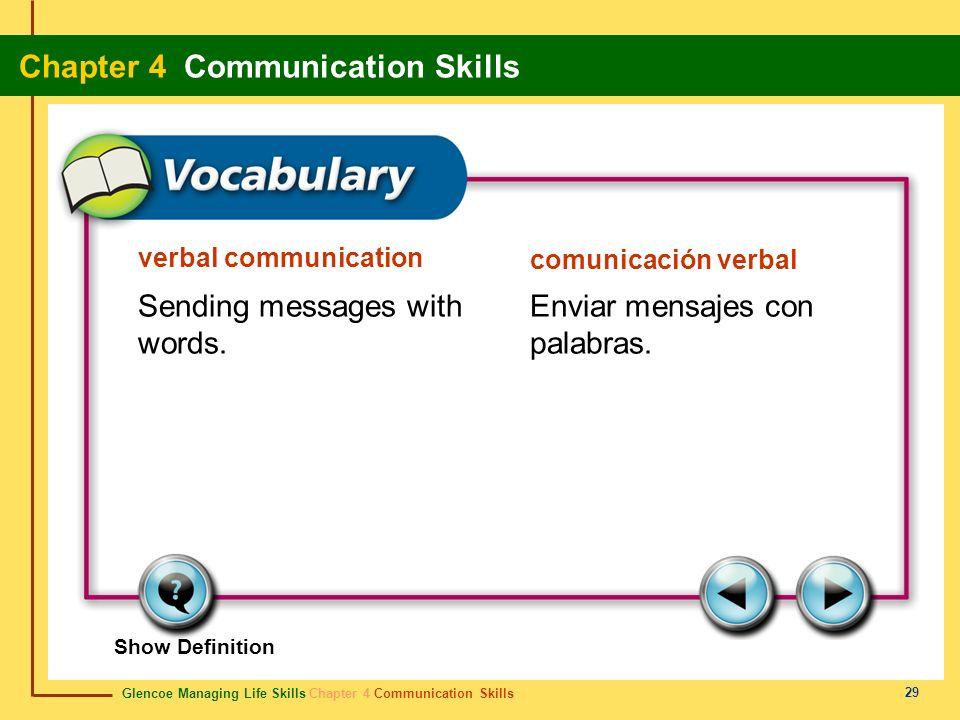 Sending messages with words. Enviar mensajes con palabras.