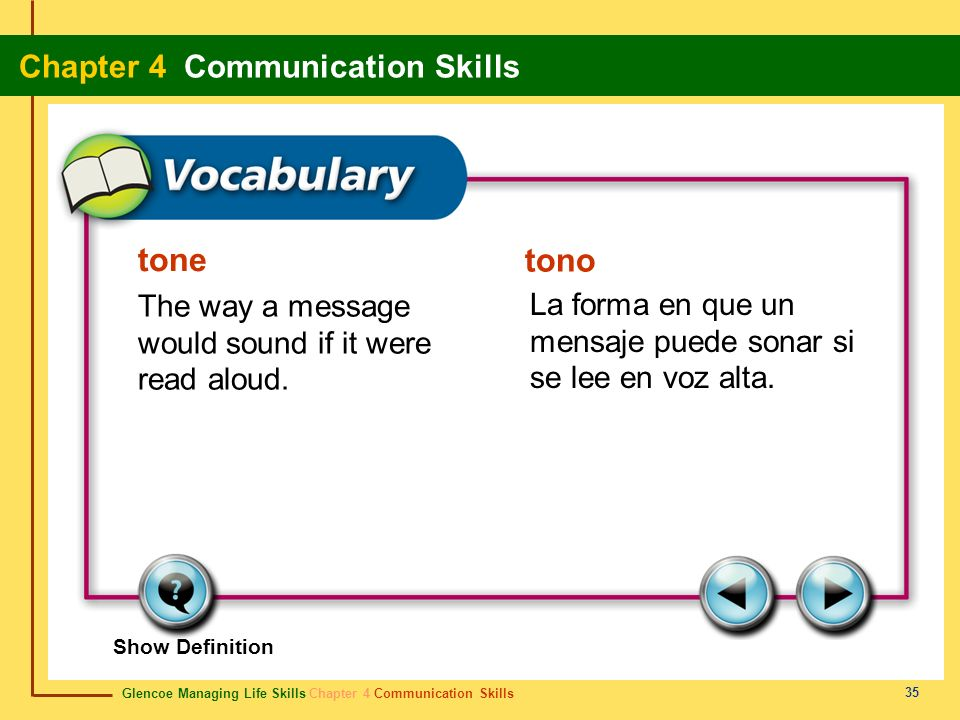tone The way a message would sound if it were read aloud.