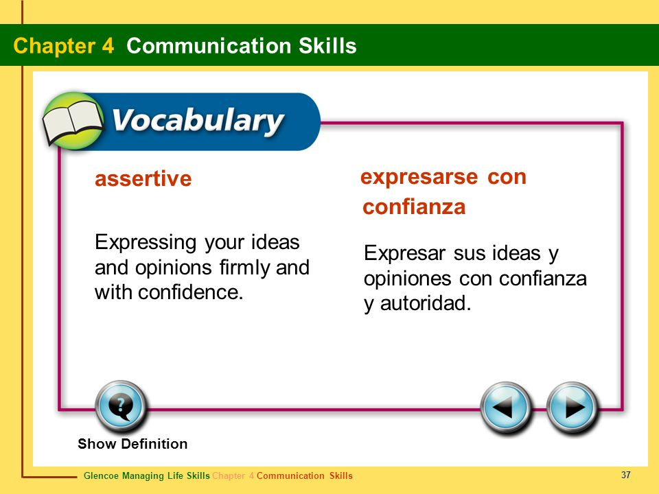 assertive expresarse con confianza. Expressing your ideas and opinions firmly and with confidence.