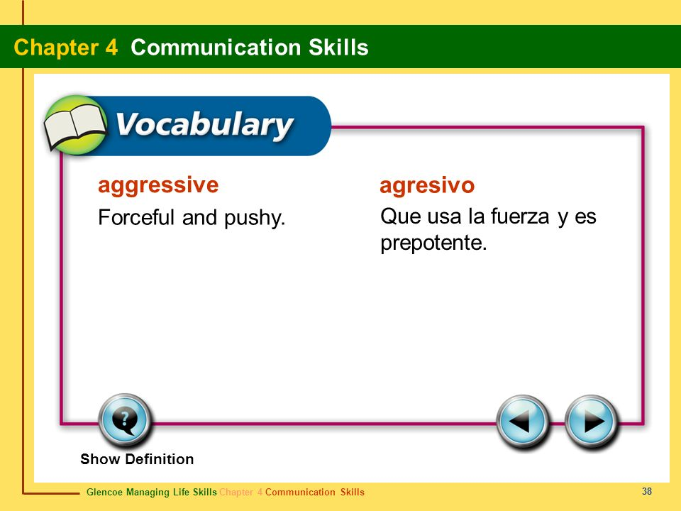 aggressive agresivo Forceful and pushy.