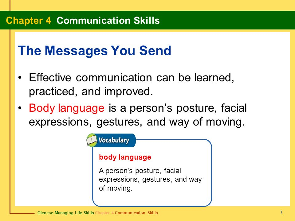 The Messages You Send Effective communication can be learned, practiced, and improved.