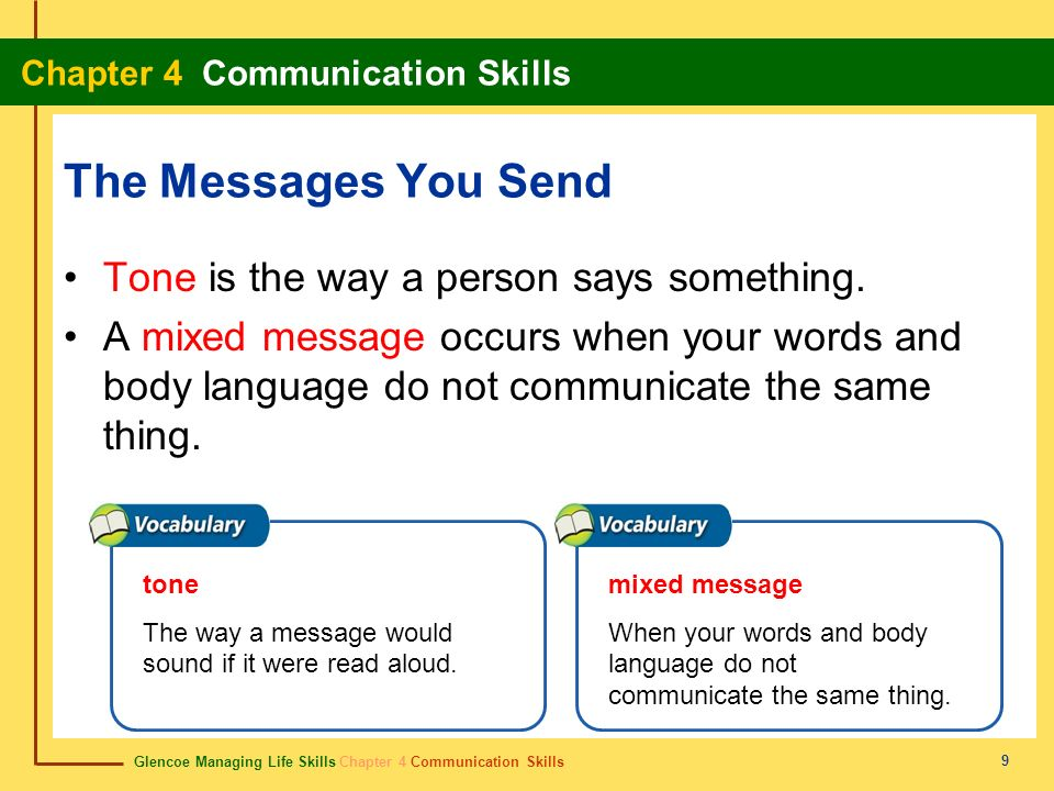 The Messages You Send Tone is the way a person says something.