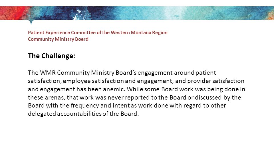 Patient Experience Committee of the Western Montana Region Community Ministry Board