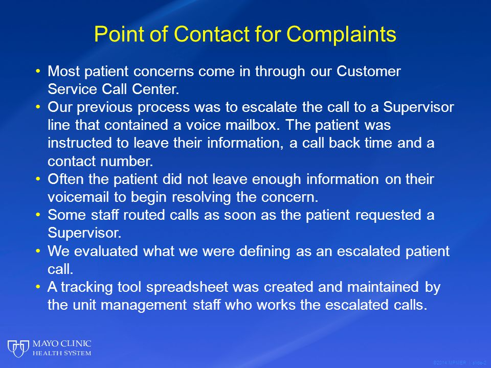 Point of Contact for Complaints