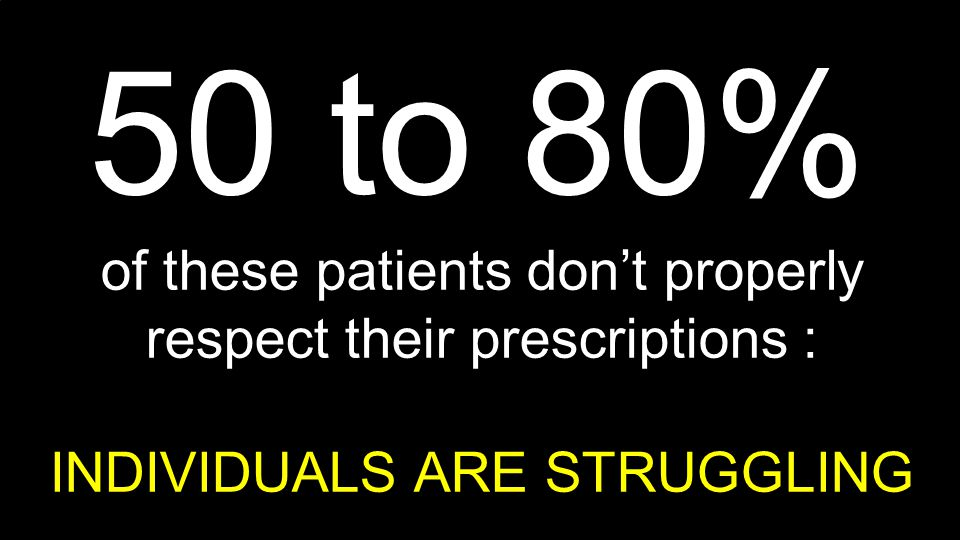 50 to 80% of these patients don't properly respect their prescriptions : INDIVIDUALS ARE STRUGGLING.