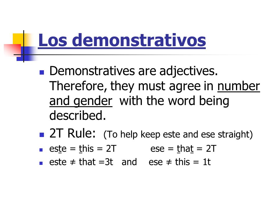 Los demonstrativos Demonstratives are adjectives. Therefore, they must agree in number and gender with the word being described.