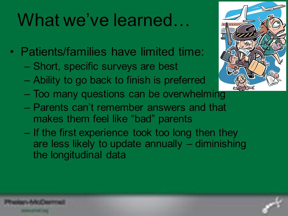 What we've learned… Patients/families have limited time: