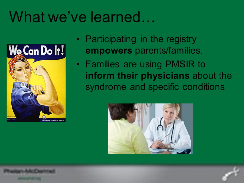 What we've learned… Participating in the registry empowers parents/families.