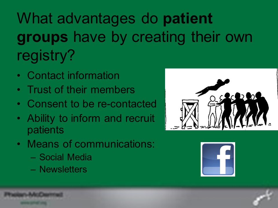 What advantages do patient groups have by creating their own registry