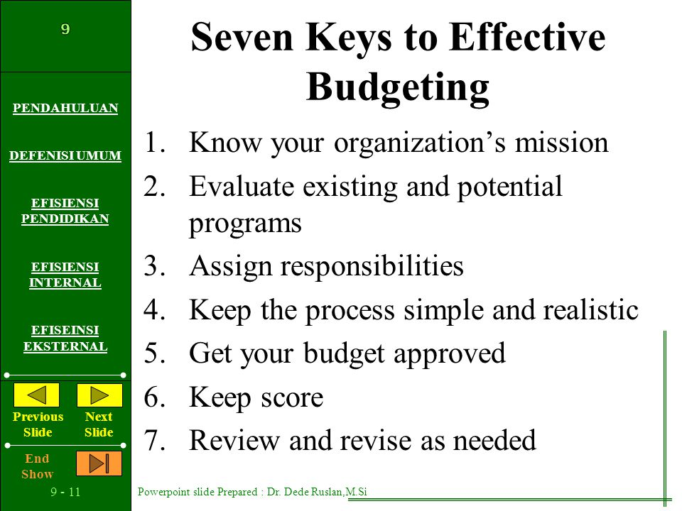 Seven Keys to Effective Budgeting