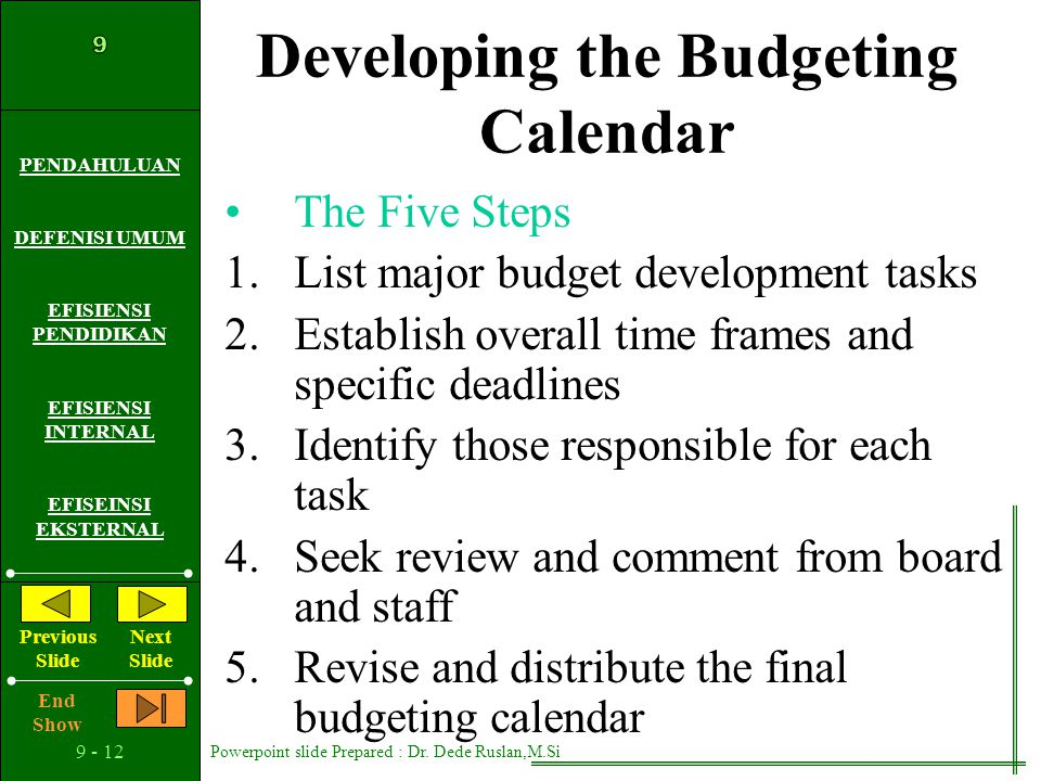 Developing the Budgeting Calendar
