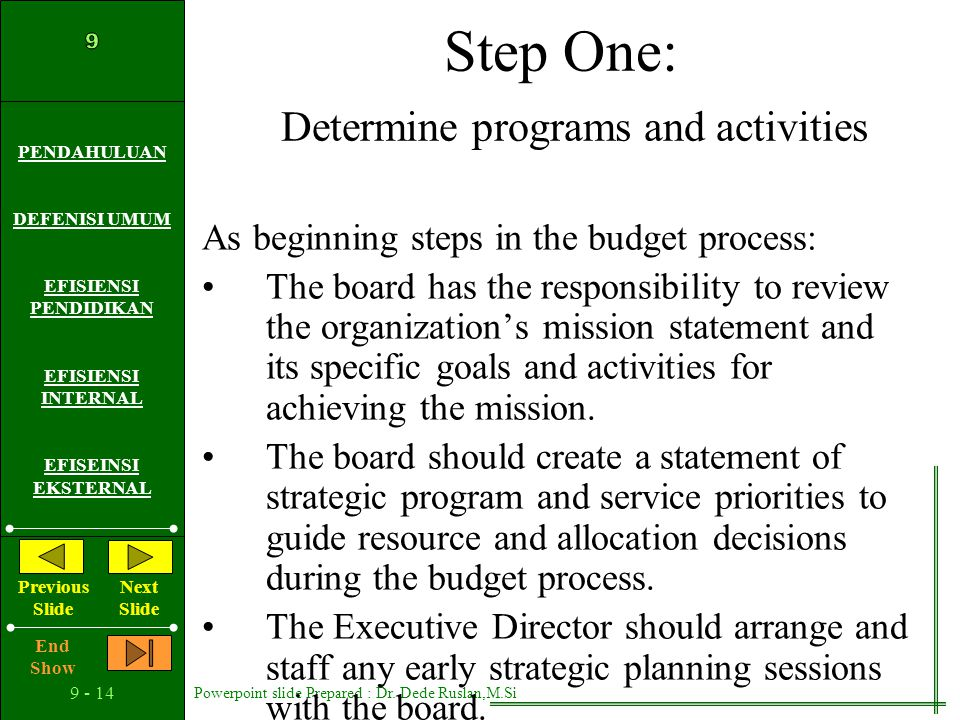 Step One: Determine programs and activities