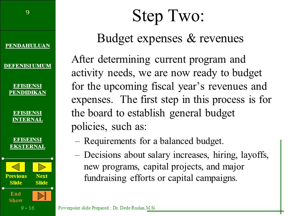 Step Two: Budget expenses & revenues