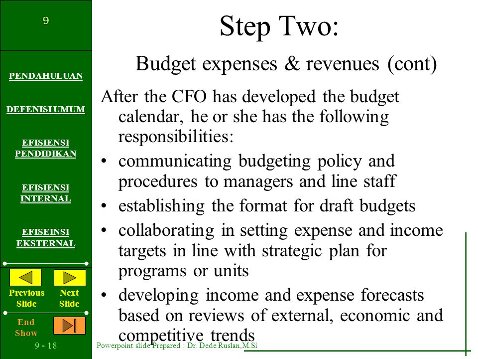 Step Two: Budget expenses & revenues (cont)