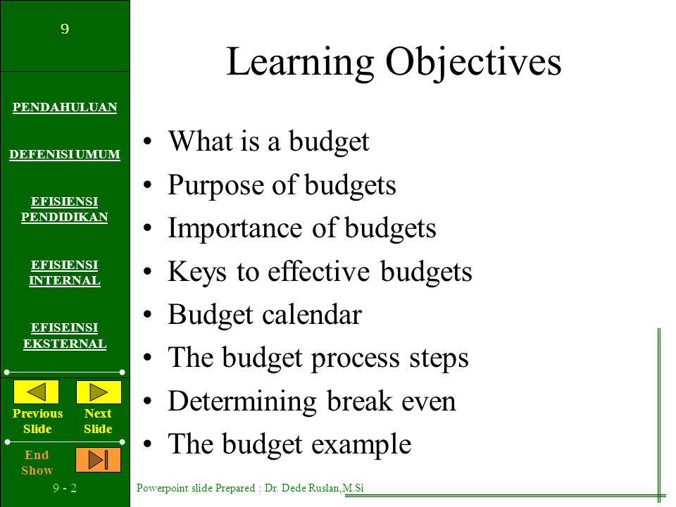 Learning Objectives What is a budget Purpose of budgets