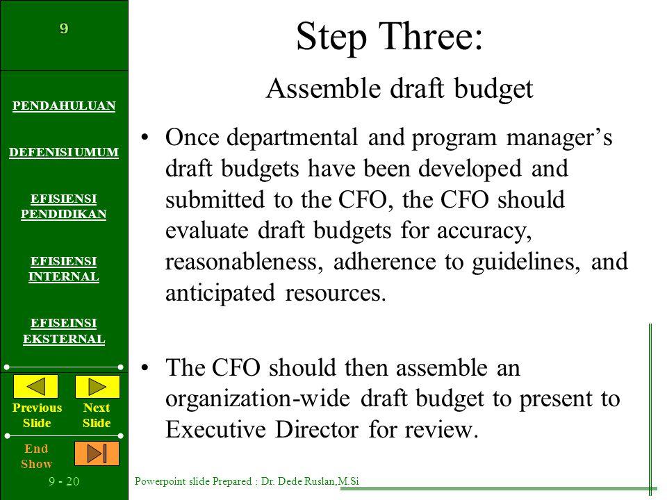 Step Three: Assemble draft budget