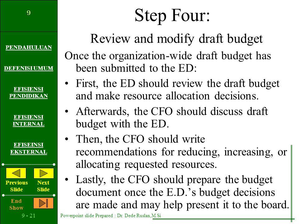 Step Four: Review and modify draft budget